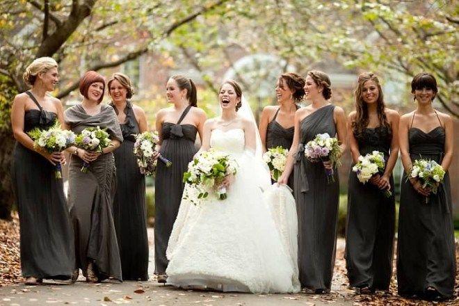 Bridal Party Photos Gray Bridesmaids Dresses Philadelphia Weddings ...