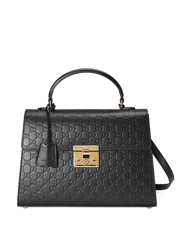 Gucci Padlock Medium Guccissima Top-Handle Bag, White/Black
