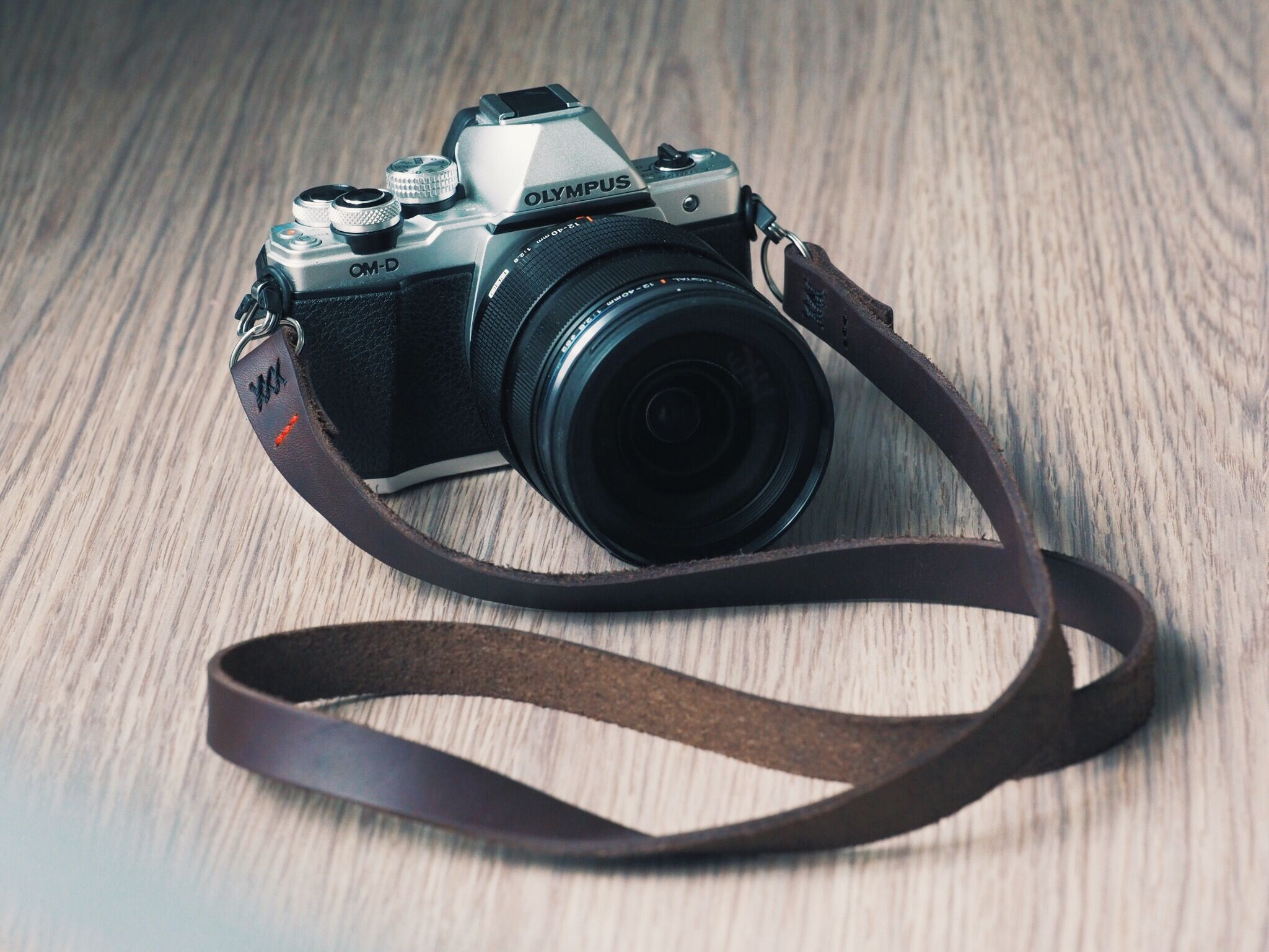 Camonstraps Brown Oil Tanned Leather Neck Strap On Olympus Om D E M10 Mark Ii Camera Leather Camera Strap Camera Straps Neck Strap