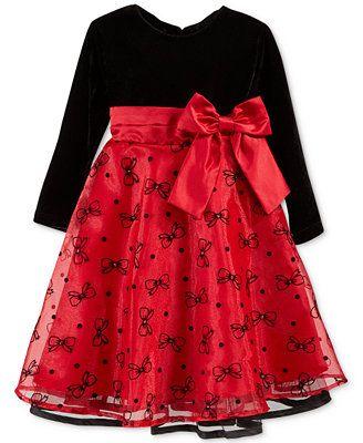 Blueberi Boulevard Baby Girls Long Sleeve Velvet Dress Baby