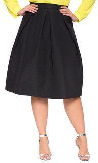 Plus Size Bonded Fabric Midi Skirt