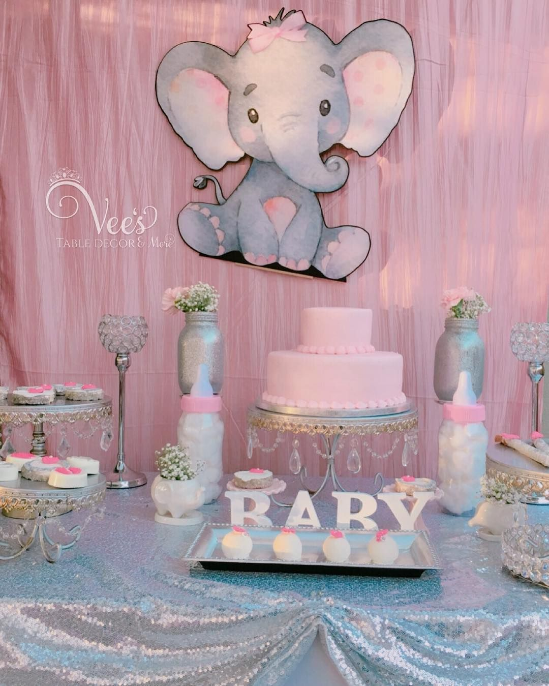 Elephant Baby Shower Table Decor Setup By Veestabledecor Desserts By Kj9 Elephant Baby Shower Theme Baby Shower Dessert Table Girl Baby Shower Party Themes