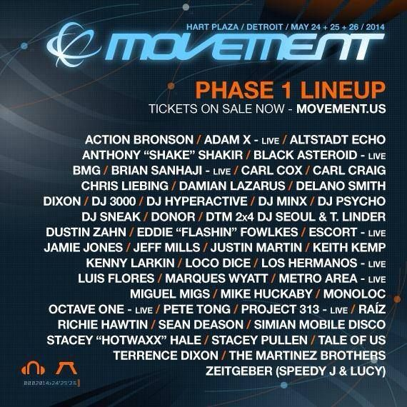 Movement 2014 Phase I Lineup Detroit Electronic Music Festival