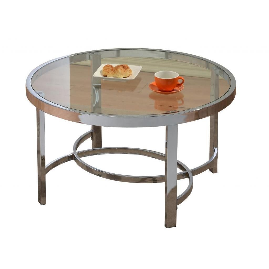 Strata 32 Inch Chrome Glass Coffee Table [ 1024 x 1024 Pixel ]