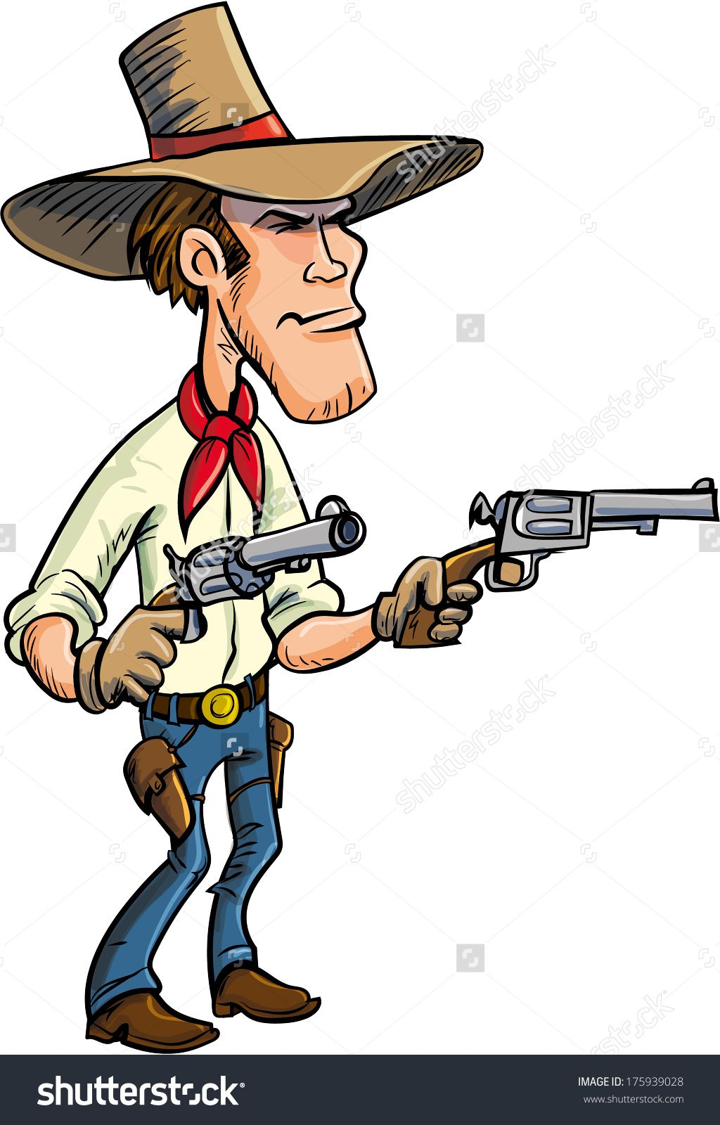 49adb8aa79d Cartoon cowboy drawing guns. Isolated on white