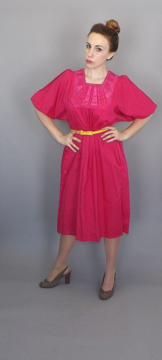 Vintage 90s Size Large Boho Hippie Hot Pink Embroidered Mexican Dress Sun Shift Day House Cotton Dress 60s Mumu Beach Spanish Maiden Folk