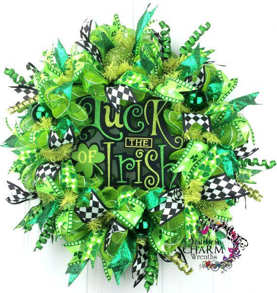deco mesh st patricks day wreath st patrick 39 s day decor luck of the irish wreath green. Black Bedroom Furniture Sets. Home Design Ideas