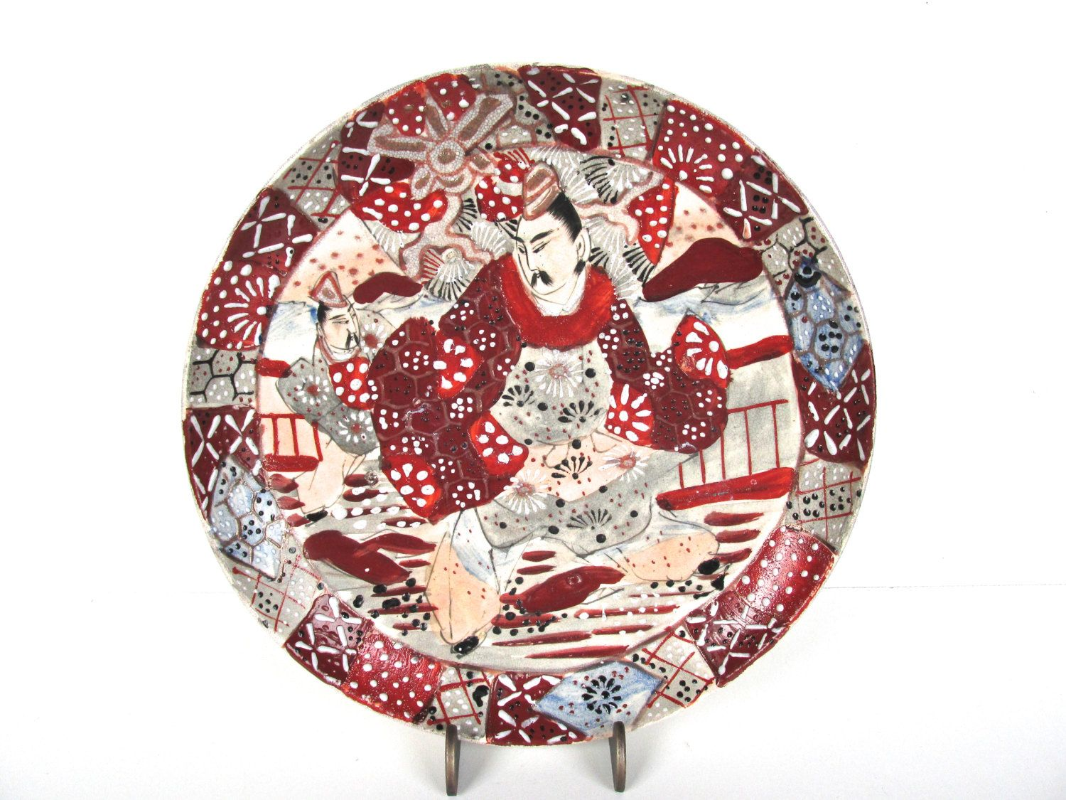 Antique Japanese Hand Painted Decorative Plate Vintage Moriage Display Plate Red And Cream Japanese  sc 1 st  Pinterest & Antique Japanese Hand Painted Decorative Plate Vintage Moriage ...