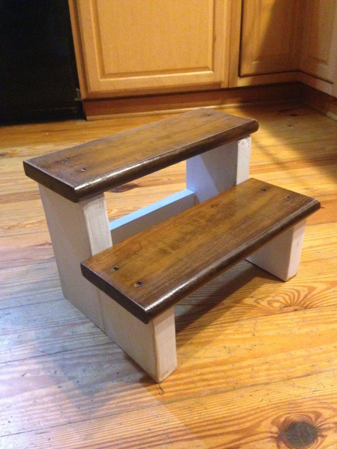 Rustic wood farm house step stool kids childs