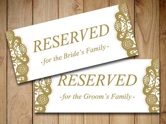 Printable Wedding Reserved Card Template By Paintthedaydesigns Card Table Wedding Wedding Printables Card Template