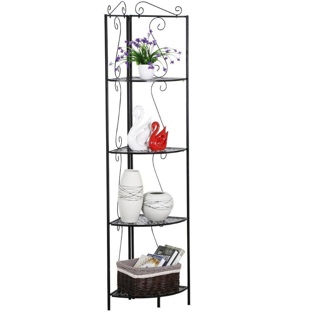 Topeakmart 4 Tier Metal Corner Shelf Unit Iron Art Storage Shelves For Bathroom Living Room Bedroom Black Corner Shelves Kitchen Shelving Units Corner Storage