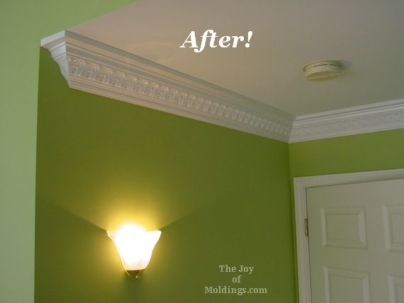 before after ornate crown molding in master bedroom