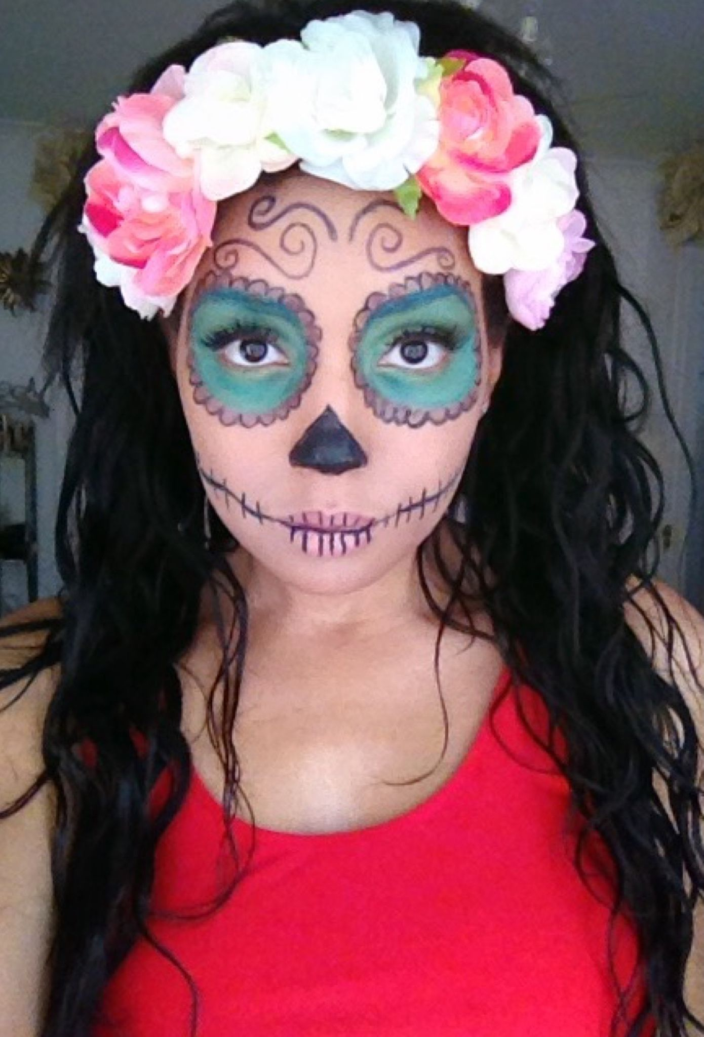 Easy Day Of The Dead Halloween Makeup Halloween Makeup For Kids Day Of Dead Makeup Dead Makeup