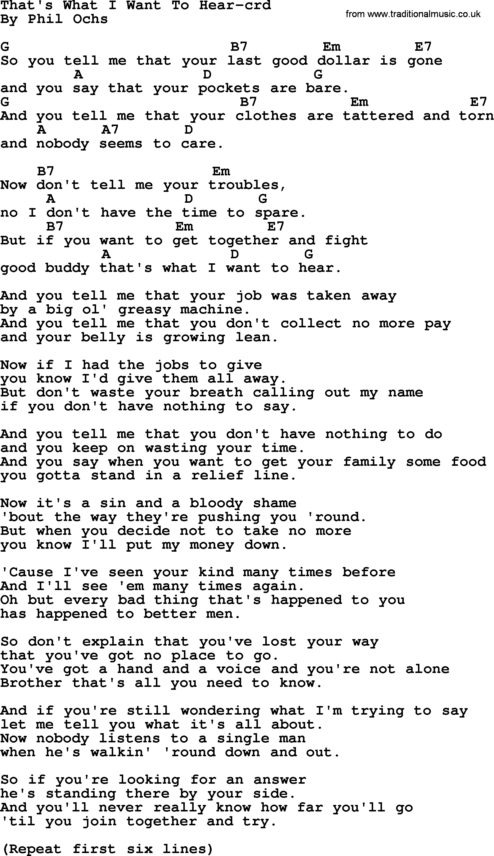 Phil Ochs Song That S What I Want To Hear By Phil Ochs Lyrics And Chords Dylan Songs Lyrics