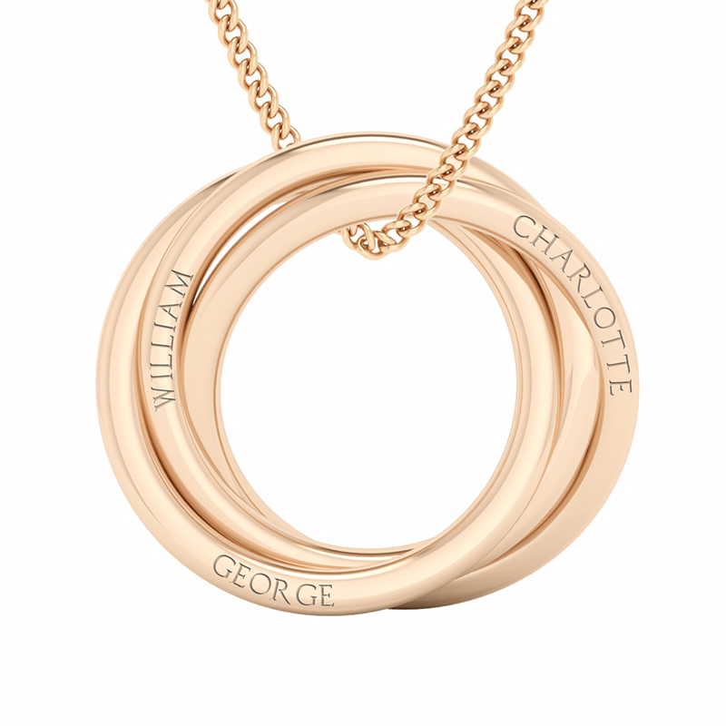 StyleRocks Russian Rings Necklace - Rose Gold Plated FGj0PFyw