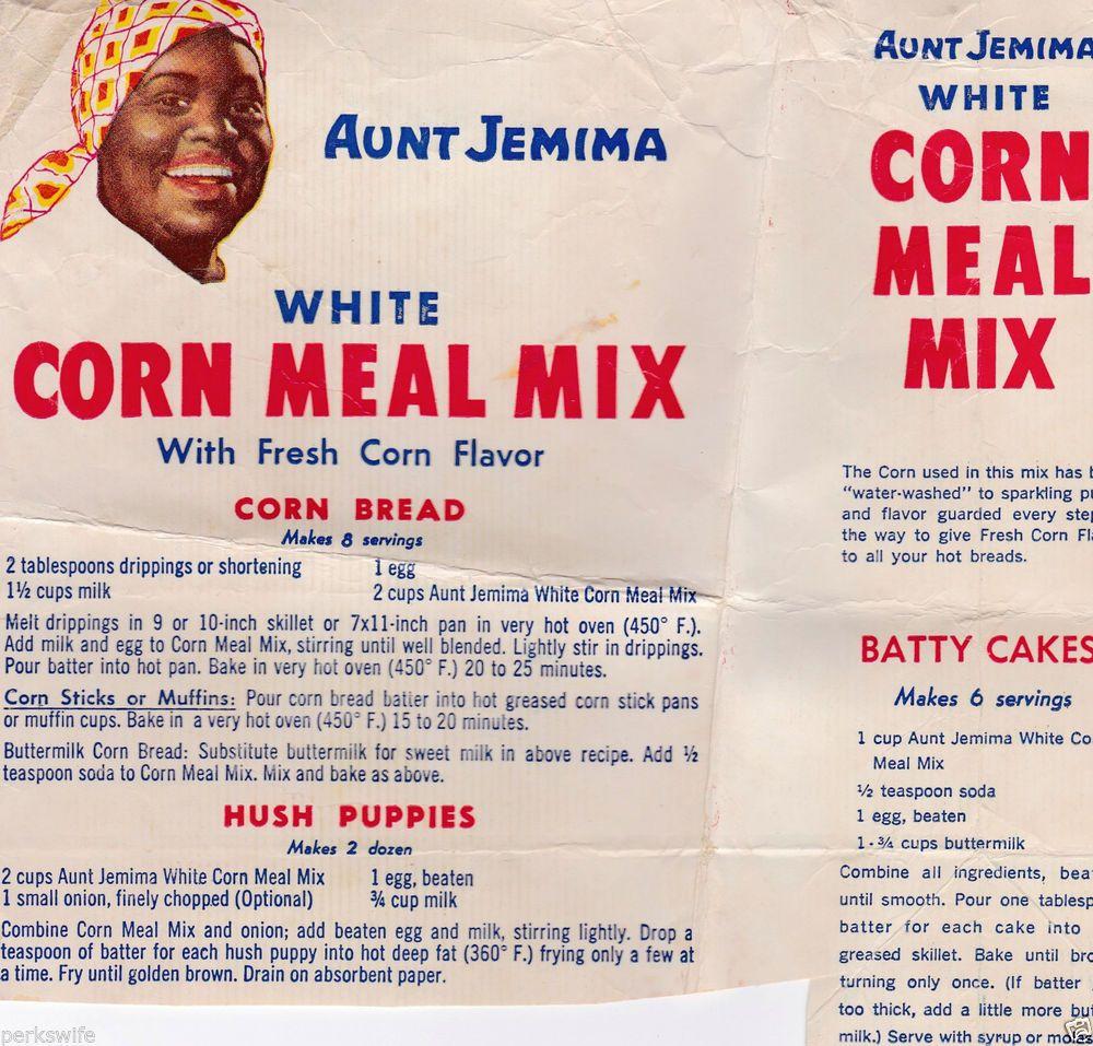 Aunt jemima corn meal mix bag recipes black americana