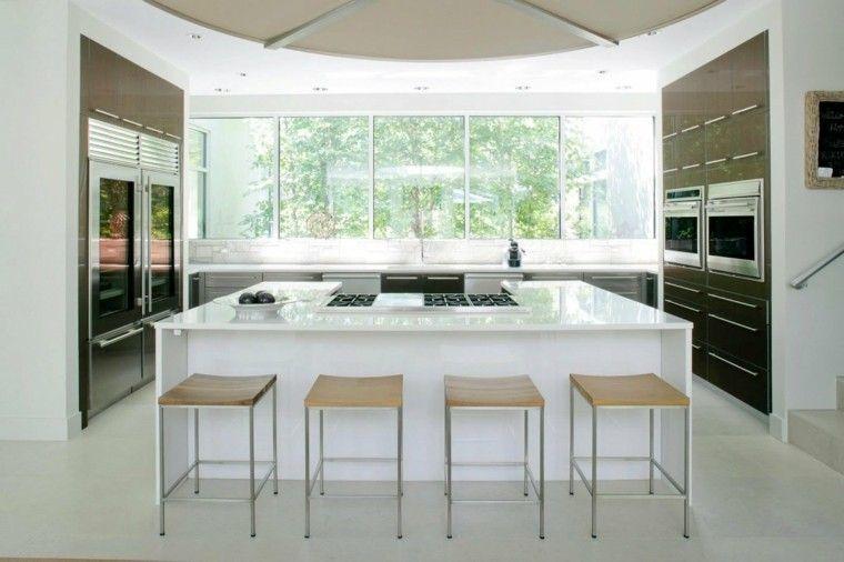 cocina moderna con isla blanca | Cocinas | Pinterest | Kitchen ...