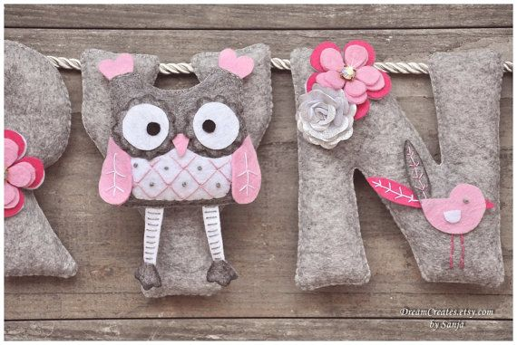 Felt name banner pink owl nursery decor by DreamCreates on Etsy