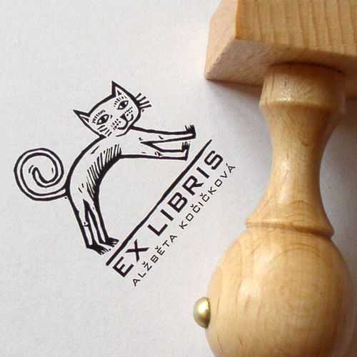 personalised ex libris rubber stamp with cat