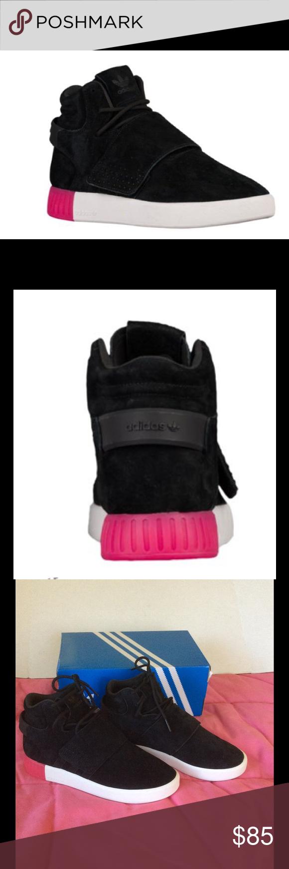adidas originali tubulare invasore cinghia nero / rosa le adidas
