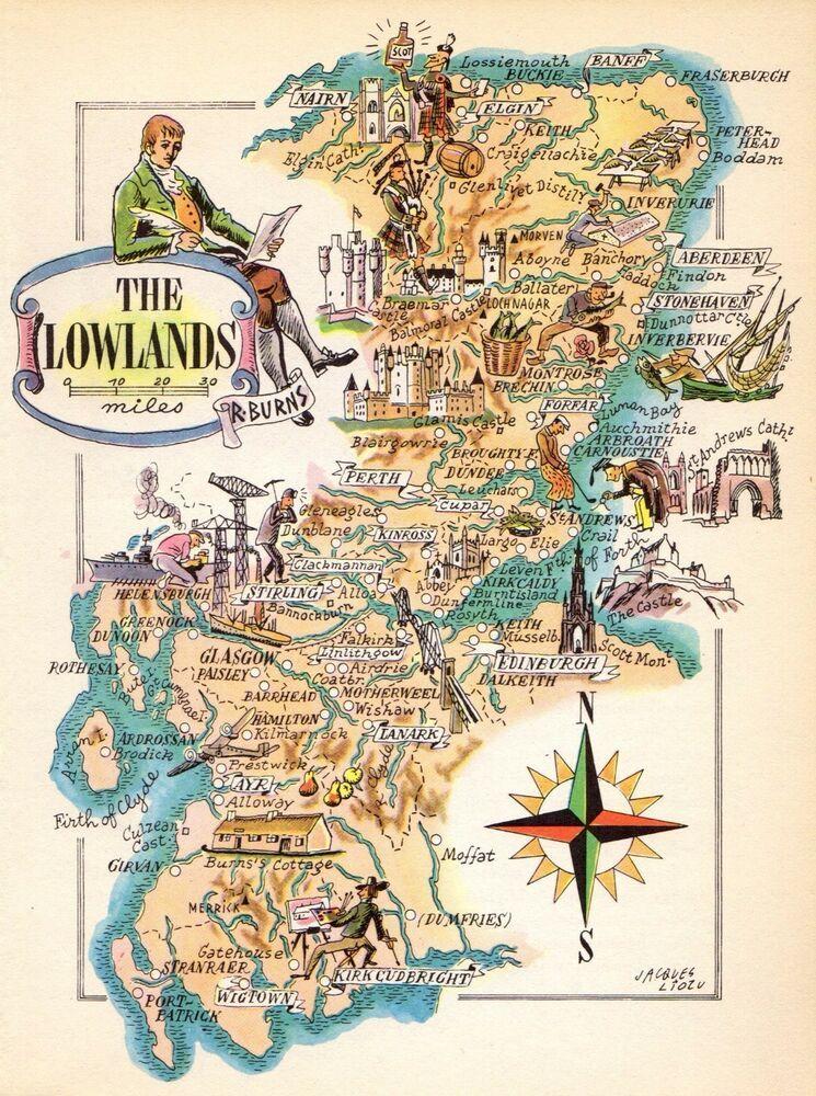 1949 Antique Animated SCOTLAND Map Scottish LOWLANDS Picture Map