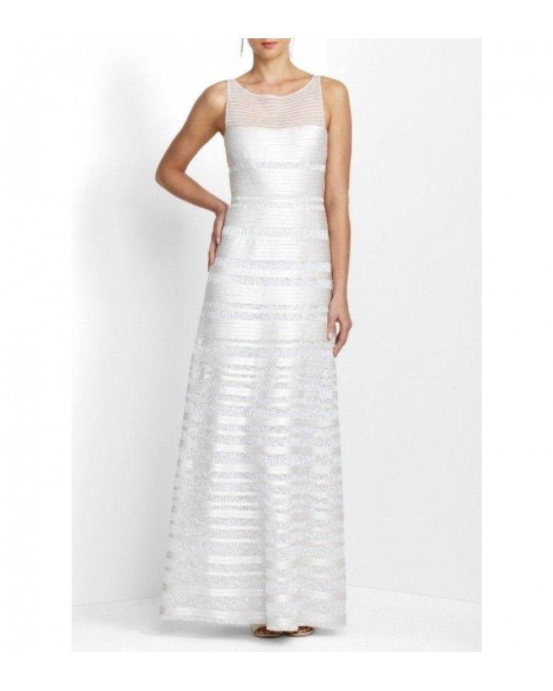 Bcbg Maxazria Brooke White Sequin Satin Gown WCJ1R914-6D6 | things ...