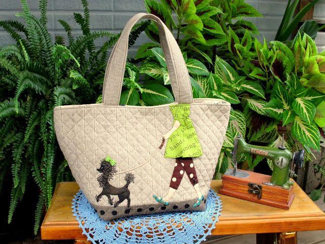 小雅拼布彩繪手作工坊 Sewing House: ♥綠洋裝女孩與貴賓狗的散步♥提包