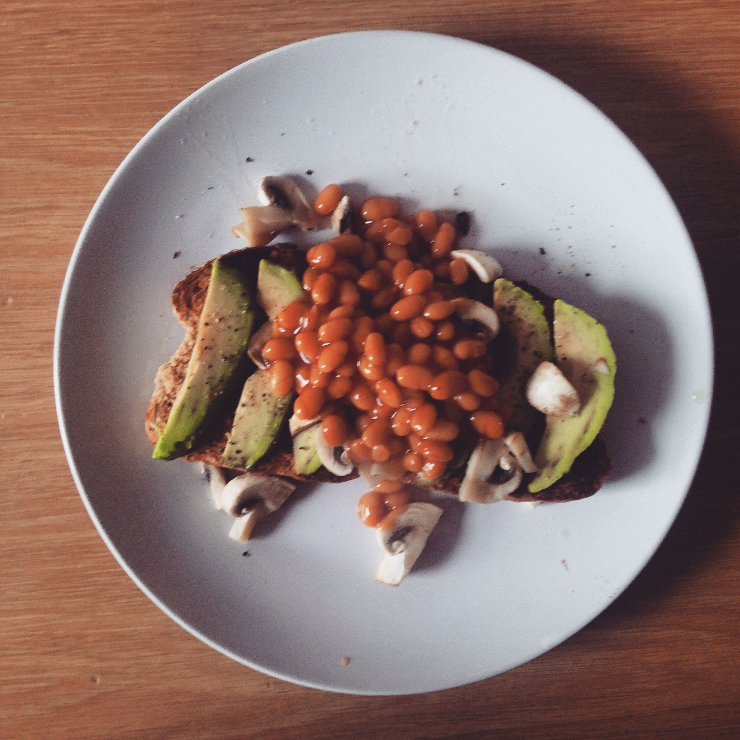 Avo-on-toast take 1 - ft beans and mushrooms #lunch