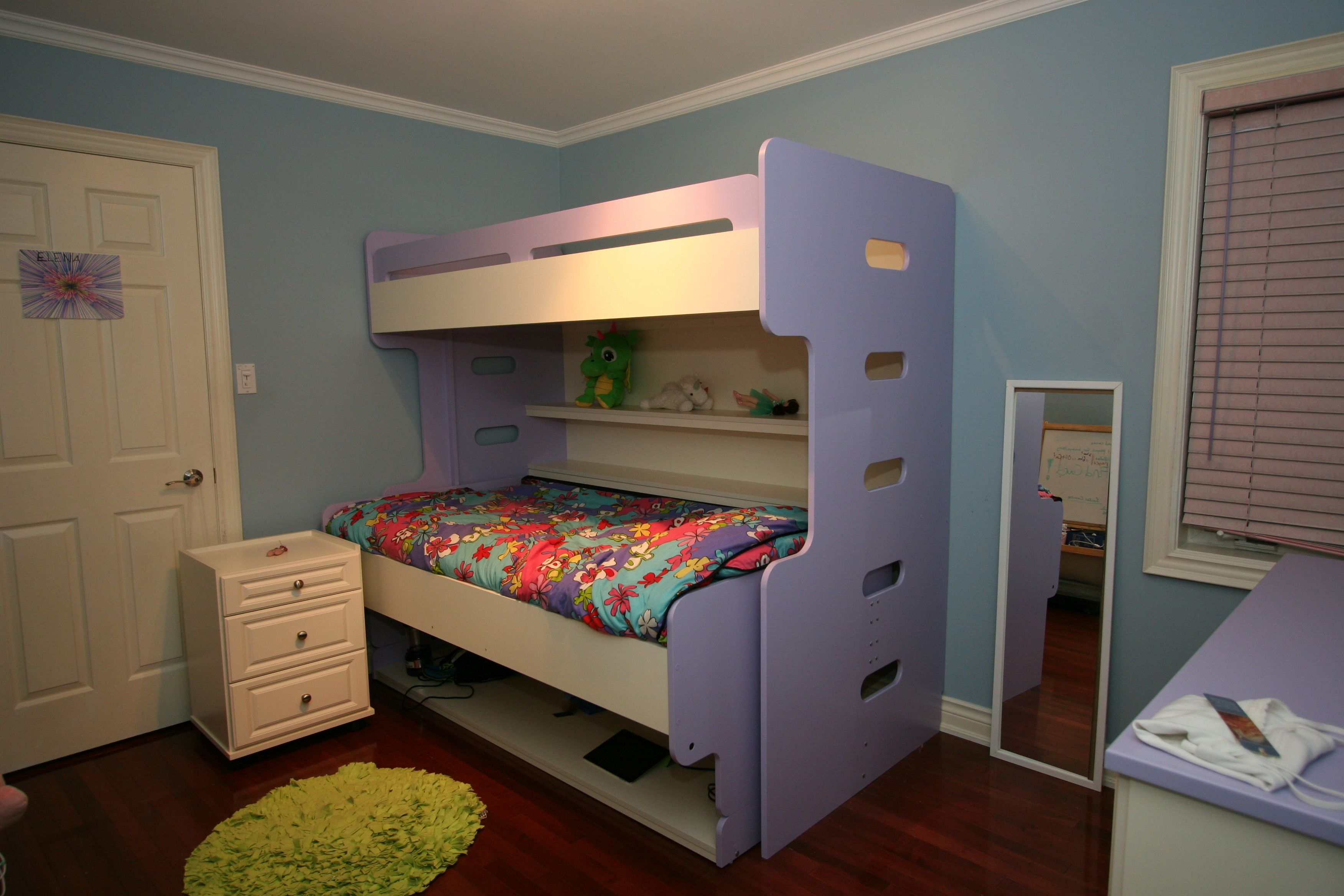 Purple bunk bed with white rollout Bed, Hidden bed, Bed
