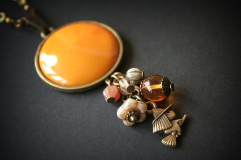 Cute Witch necklace pendant for Halloween  - with mustard yellow enamel and czech glass beads
