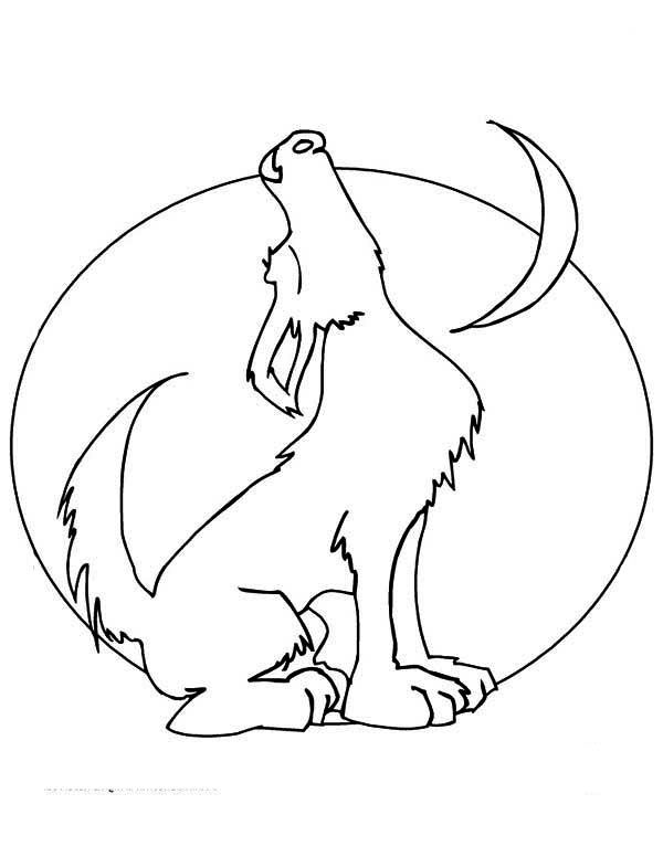 Howling Wolf And The Moon Coloring Page Download Print Online Coloring Pages For Free Color Nimbus Moon Coloring Pages Wolf Howling Coloring Pages