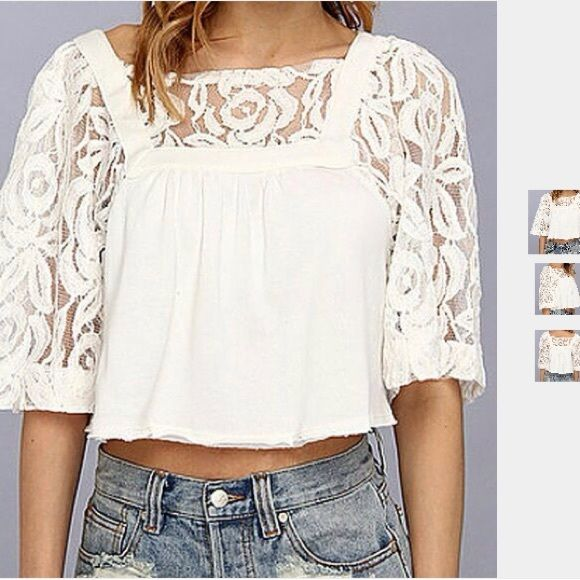Free People Crop Lace Sweater M NWOT Beautiful Dainty Bell Sleeve Lace and Cotton Soft Sweater! Free People Tops
