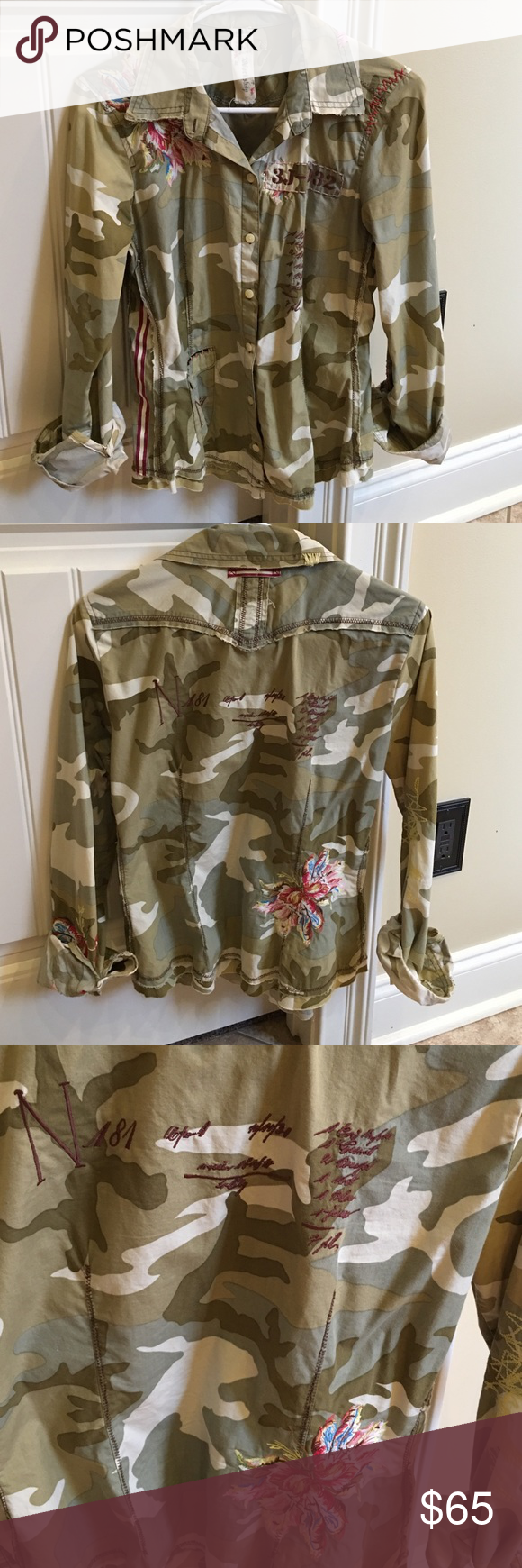 Johnny Was Floral Camo Shirt Very cool details on this 3J Johnny Was shirt. Only selling because doesn't fit quite right. Price firm. Johnny Was Tops Button Down Shirts