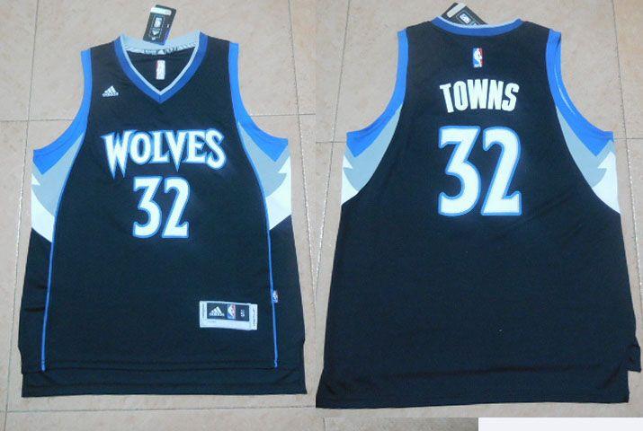 d45388be Minnesota Timberwolves #32 Town Black Men 2017 New Logo NBA Adidas Jersey