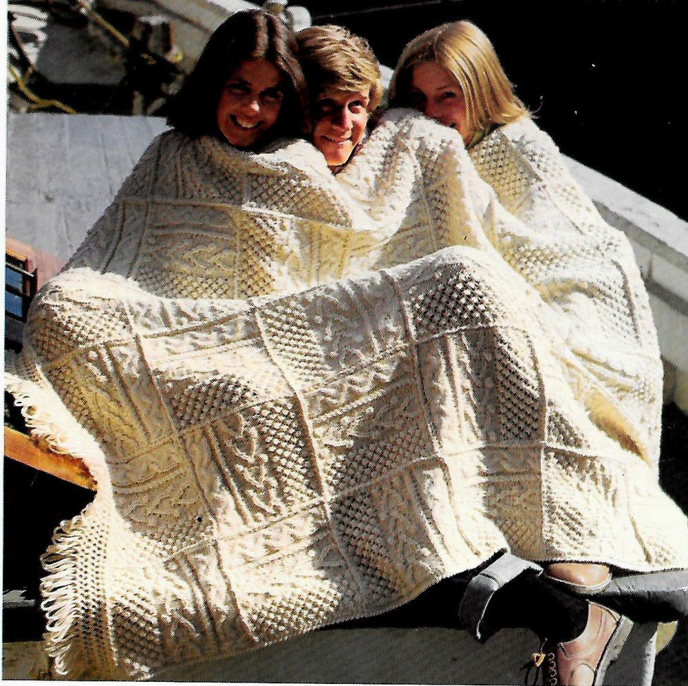 Shannon irish fisherman 70\'s afghan - vintage knitting pattern ...