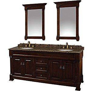 Wyndham Collection Andover 72 Inch Double Bathroom Vanity In Dark Cherry Imperial Brown Granite Countertop Undermount Oval Sinks And 28 Mirrors