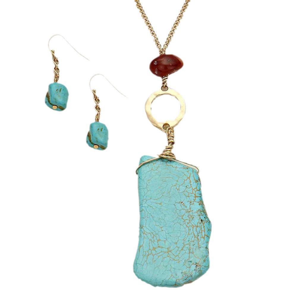 Stunning Turquoise Pendant Long Necklace Earring Set