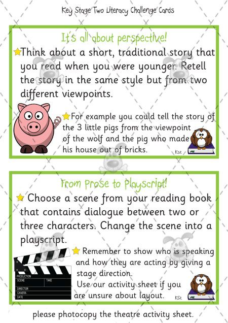 Teacher S Pet Key Stage Two Literacy Challenge Cards Pack 1