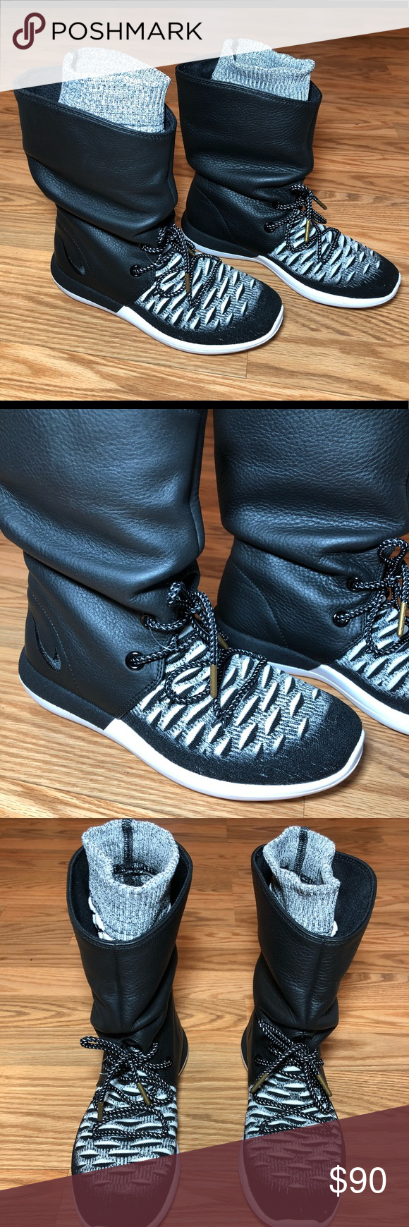 pretty nice 68581 c068a Nike Roshe Two Hi Flyknit Women s 7 Black   White Nike Roshe Hi Flyknit  Women s 7 Black   White High Top Lace Up Attached Inside Sock Brand New w o  Box ...
