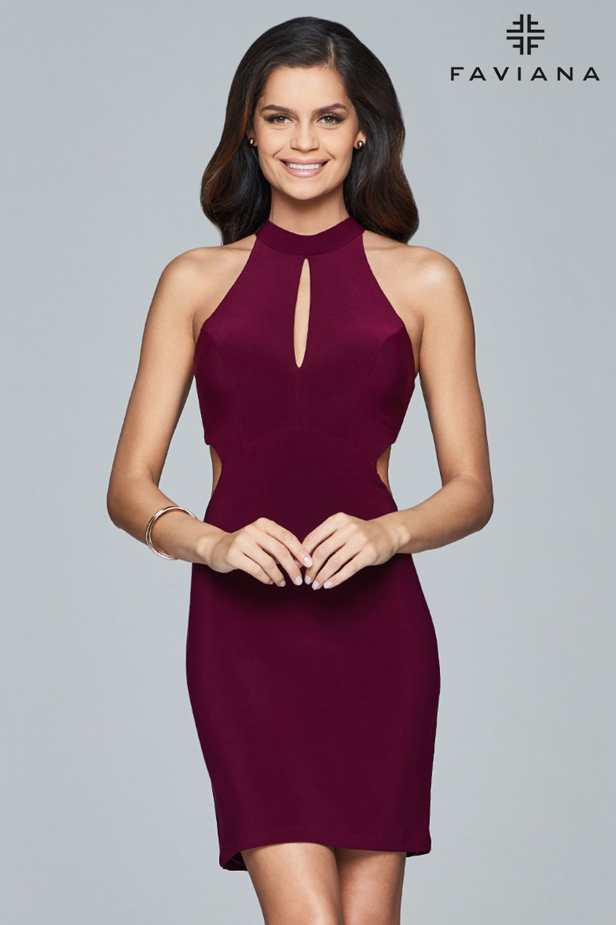 Fall faviana style s short jersey cocktail dress with cutouts