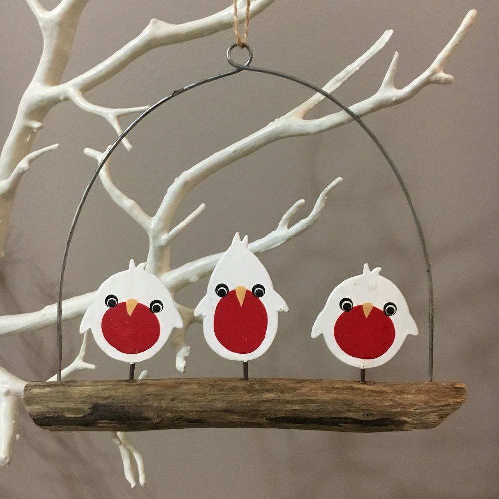3 white robins on a branch.Hanging Christmas decoration.Shoeless joe.Shabby chic