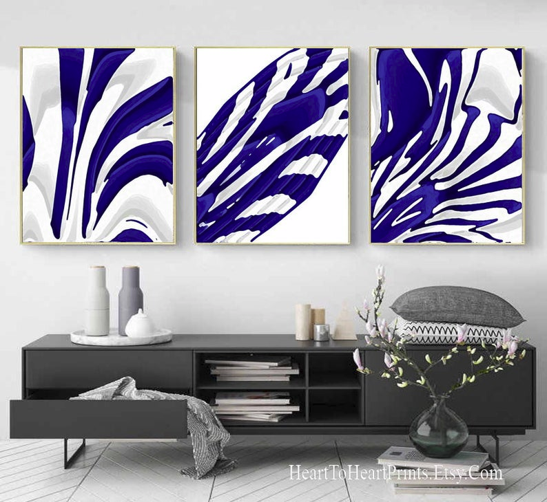 Set Of 3 Navy Blue White Abstract Wall Art Digital Painting Etsy Navy Blue Wall Art Blue Wall Art Blue Abstract Painting