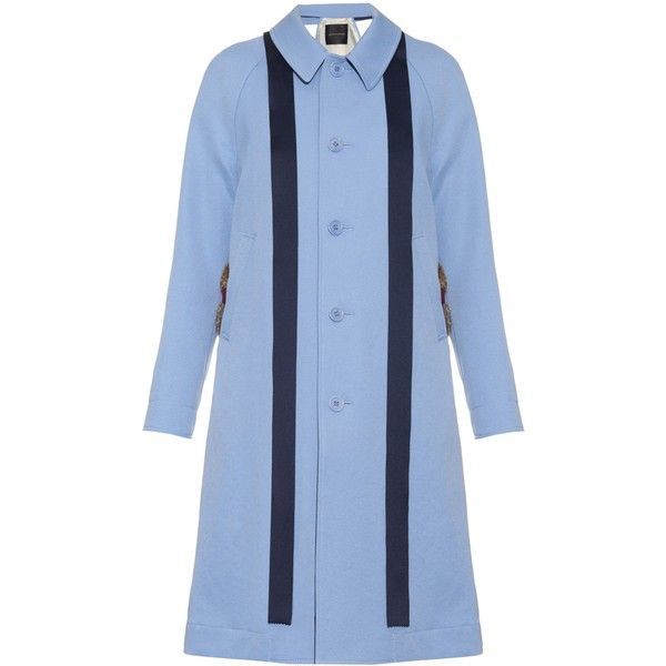Undercover Fur-trim crepe trench coat (640 JOD) ❤ liked on Polyvore featuring outerwear, coats, light blue, blue coat, blue trench coat, trench coat and fur trimmed coat