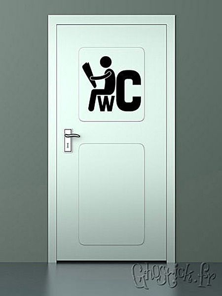 Sticker enseigne pour une porte de toilettes d co pratico recyclo pinterest washroom sign - Deco toilet zwart ...