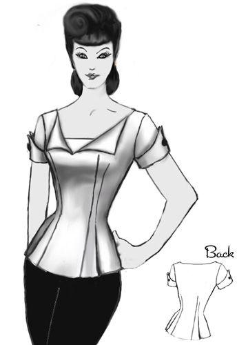 Rockabilly Blouse design By Amber Middaugh #Rockabilly #1940s  #Retro
