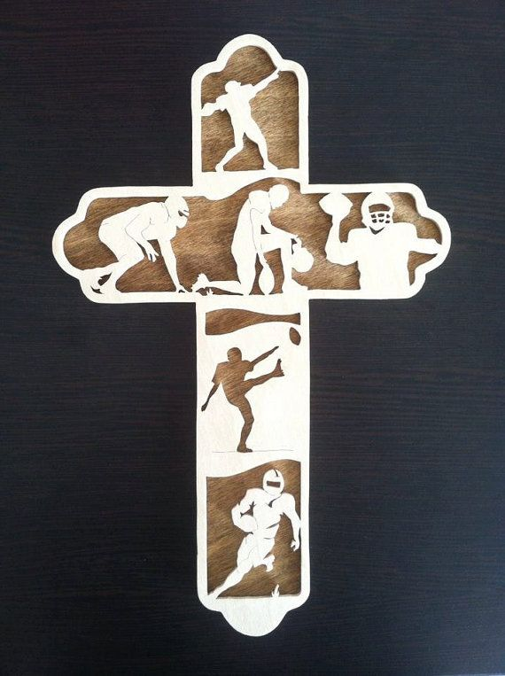 $35 Football Cross Football Player Gift by BriarBeachDesigns