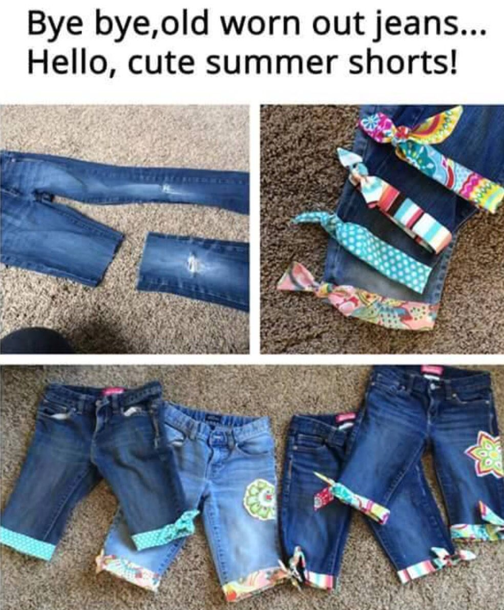 Cute way to reuse old clothes! I would make mine shorter, but that's the great thing, you can make them the length you want.