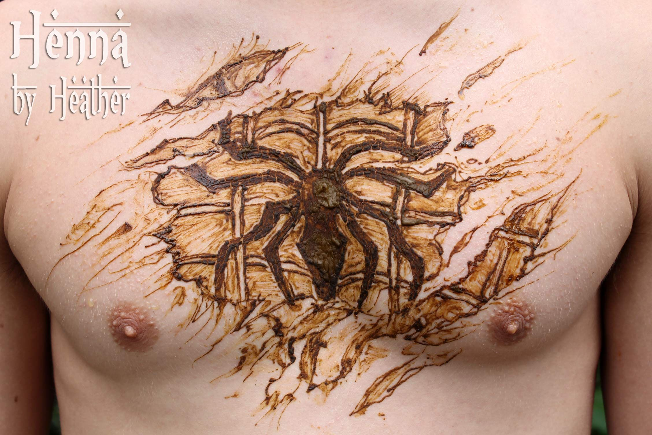 Mens Mehndi Tattoo : Henna tattoo designs spiderman chest design