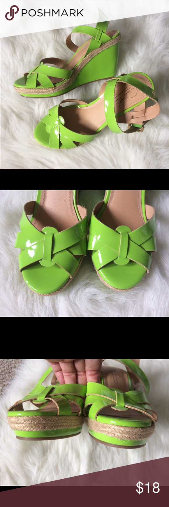 d48f73c6532a Neon green summer wedge sandal heels 7.5 Diane Gilman for Theory. Bright neon  green