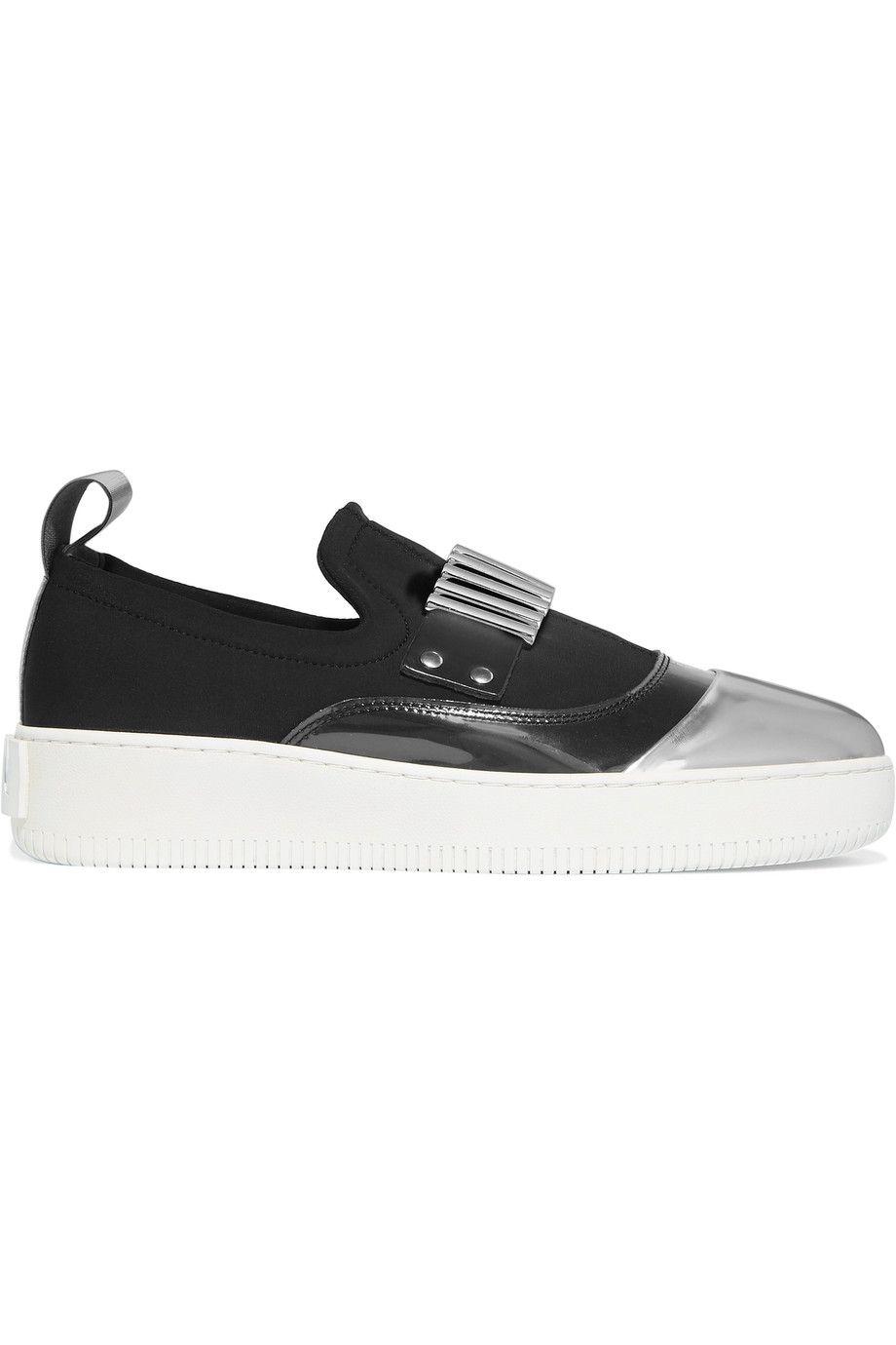 MCQ BY ALEXANDER MCQUEEN PVC-paneled embellished neoprene slip on sneakers.  #mcqbyalexandermcqueen #